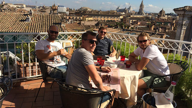 This is from a visit in Rome at Hotel Raphaels rooftop bar. A cozy rooftop with an awesome view over Rome's skyline.